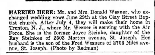 Wesner and Steinke Wedding - MARRIED HERE: Mr. and Mrs. Donald Wesner, who...
