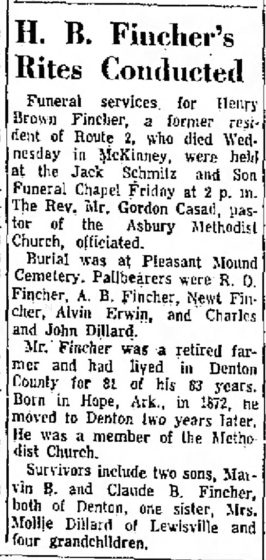 Henry Brown Fincher 1872-1956 Obituary - set bylaws reship H. B. Fiucher's Rites...