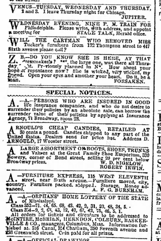 Early ad for D. Arnould's candies