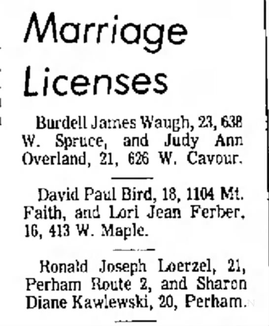 15 Nov 1973 - on on a Marriage Licenses Burdell James Waugh,...