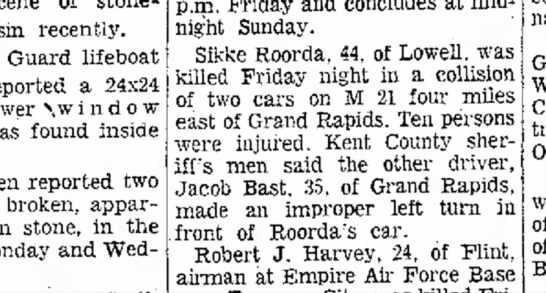 Sikke Roorda killed-Benton Harbor 1963 - thrown stone, in the recently. Guard lifeboat...