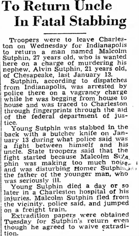 Malcolmn Sutphin - di- o To Return Uncle In Fatal Stabbing...