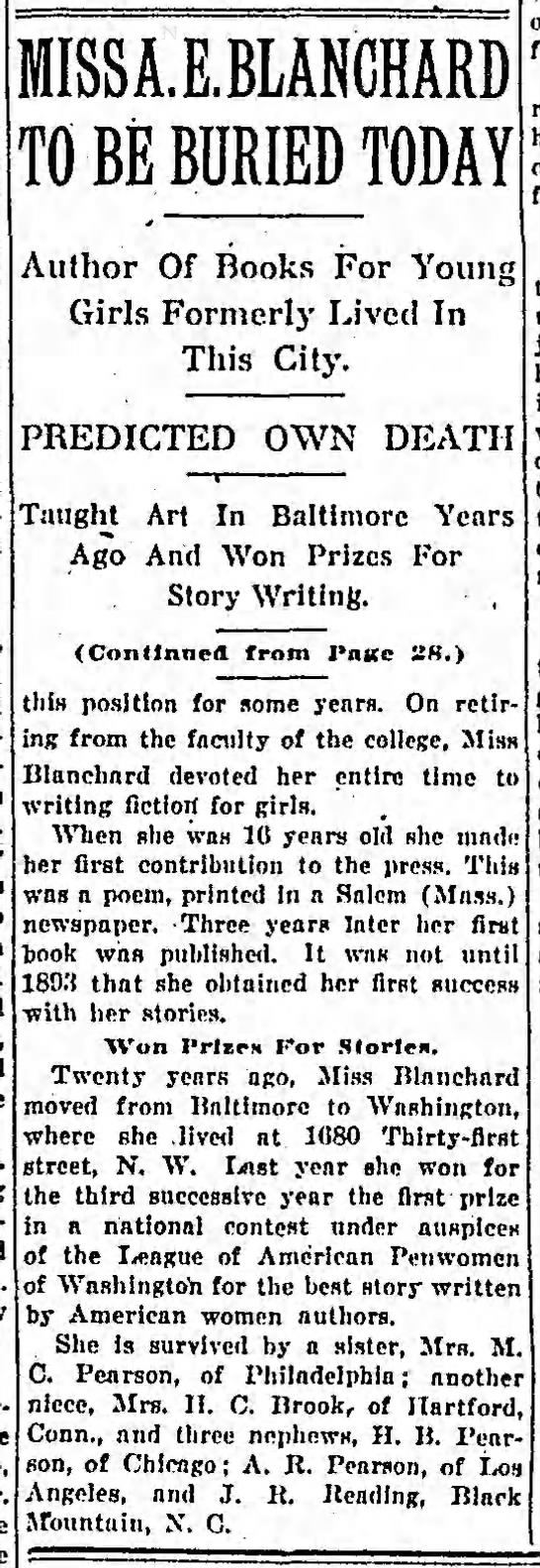 - MISSA.E.BLANCHARD TO BE BURIED TODAY Author Of...
