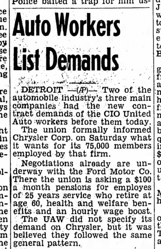auto strike - Auto Workers in Vii, % DETROIT Two of ihe...