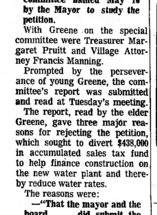 F Manning - by the Mayor to study the petition. With Greene...