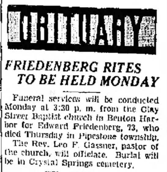 Edward Friedenberg Obit