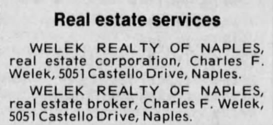 - Real estate services WELEK REALTY OF NAPLES,...
