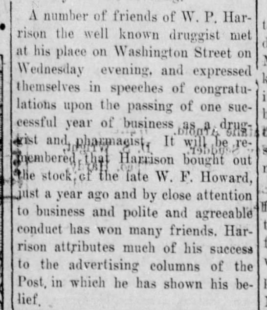 W. P. Harrison - one year in business - Vicksburg Evening Post 14 Feb 1914 pg 6 - A number of friends of Y. P. Harrison Harrison...