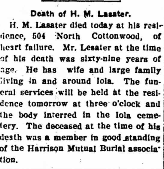 Hardy M Lasater - Obituary - The Iola Register 5 Oct 1904 Page 2 - Death of H. M. Lasater. H. M. Lasater died...