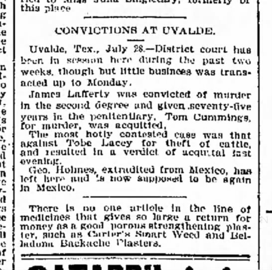 Convictions at Uvalde; 29 July 1893 - can- like no effect advanced no good slmt for...