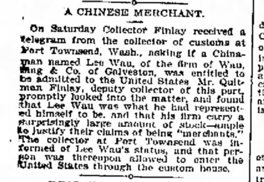 Collector Finlay - A CHINESE MERCHANT. On Saturday Collector...