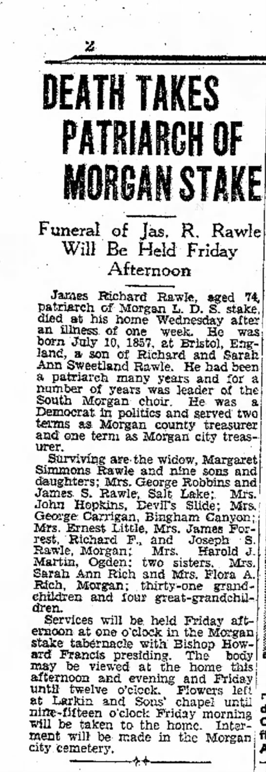 1931 Rawle, James Richard's obit OSE Dec 10 p. 2 - DEATH TAKES PAIfMRGHW Funeral of Jas, R. Will...