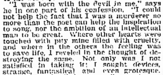 """Holmes' words - """"I was born with the devil in me,"""" he In one..."""