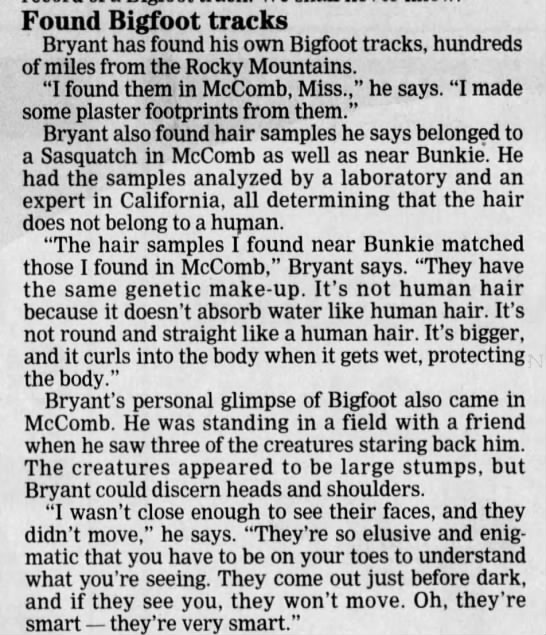 Bigfoot account (The Town Talk, 1995) - Found Bigfoot tracks Bryant has found his own...