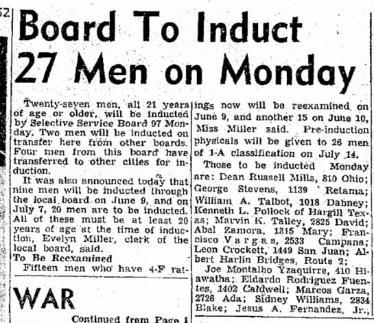 Joe Montalvo Yzaguirre - 1952 Board To Induct 27 Men on Monday...