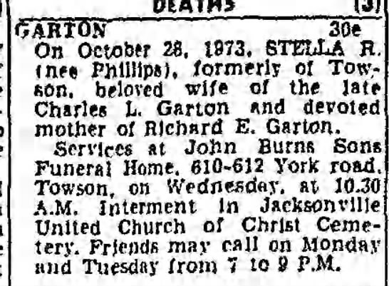 Stella R Phillips Garton Obit - DEATHS an OARION 30e On October 2. 1973. STELLA...