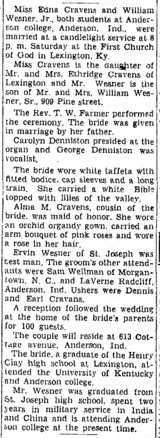 William Wesner Jr. and Edna Cravens Wedding - of was to in working north Nov. his Miss Efina...