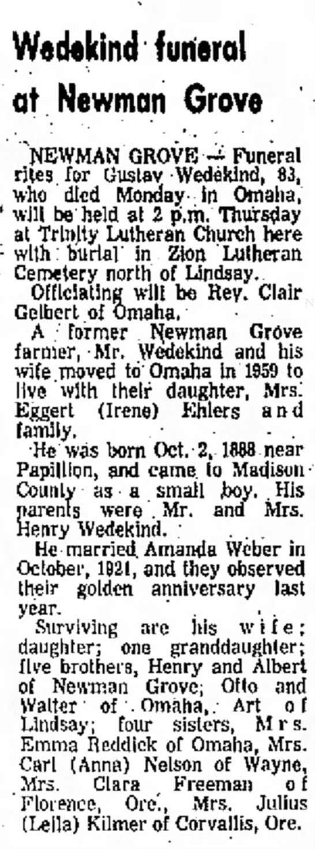 clara freeman wife of James Freeman? - Waddind funeral at Newman Grove . : Dana ....