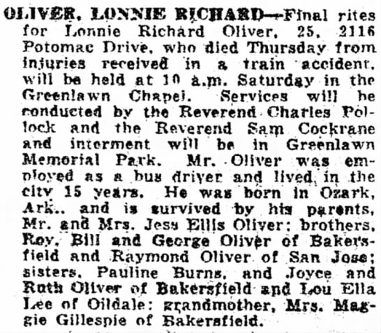 Lonnie Oliver Obituary Article - OI-1VEB. LOSJi'IE BJCHASD-fFfnal rites for...