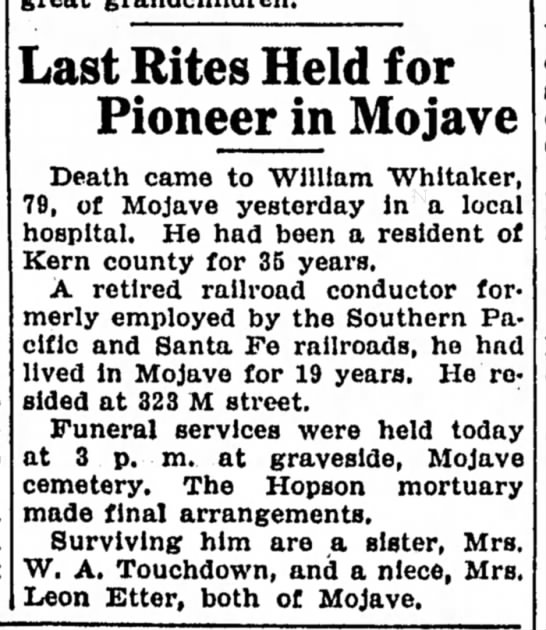 1942-01-23 WHITAKER WILLIAM LAST RITES HELD FOR PIONEER IN MOJAVE - b Last Rites Held for Pioneer in Mojave Death...