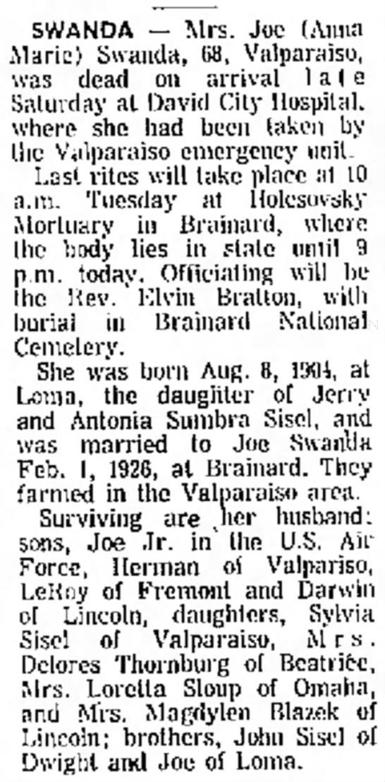 Joe Swanda - 85, of SWANDA -- Mrs. Joe (Anna Marie) Swauda,...