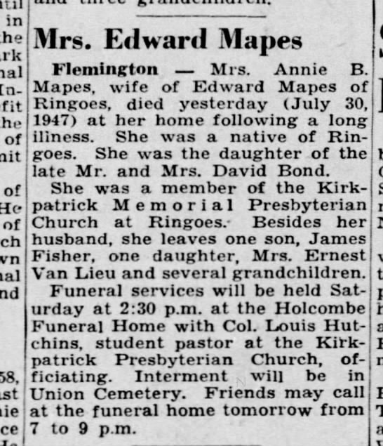 Annie Mapes obituary - in the Insurance the of of He of 58, Mrs....