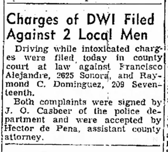 Francisco Alejandre - Charges of DWI Filed Against 2 Local Men...