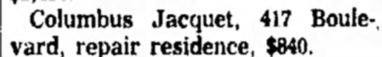 No New Building Shown in Permits Columbus Jacquet -21 Oct 1961 - Columbus Jacquet, 417 Boule-, vard, repair...