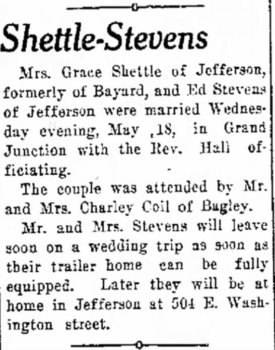 - Tom hair Shettle-Stevens Mrs. Grace Shettle of...