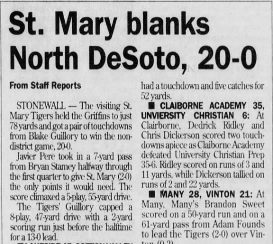 Sep 11 St mary writeup - St. Mary blanks North DeSoto, 20-0 20-0 20-0...