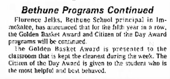 - Bethune Programs Continued Florence Jelks,...