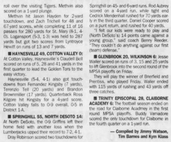 Nov 2 Springhill writeup - roll over the visiting Tigers. Methvin also...
