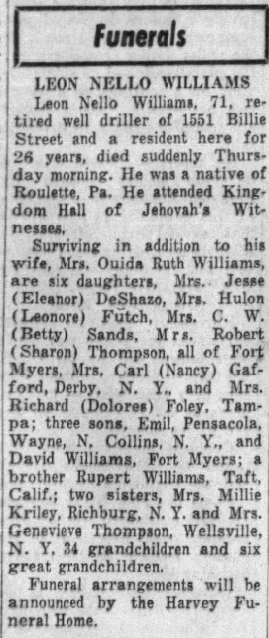 Leon's Obituary May 6 1960 - Funerals LEON XELLO WILLIAMS Leon Nello...