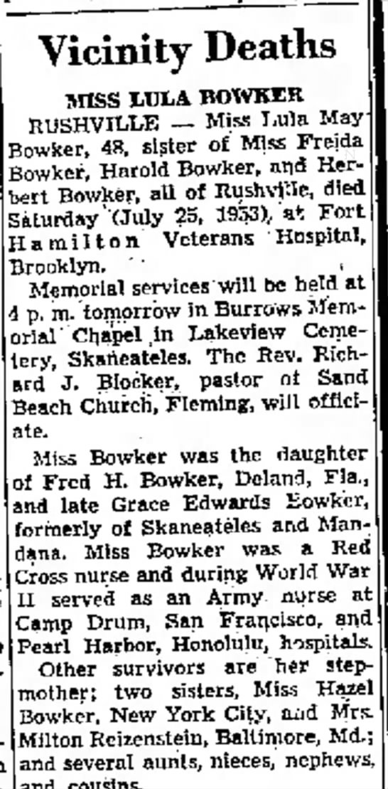 Lulu Bowker obit - was home 69 Vicinity Deaths MISS LDIA BOWKZK...