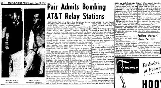 Bernard Jerome Brous arrested for sabotage. - CORPUS CHRISTI TIMES, Mon., June 19, 196! Pair...