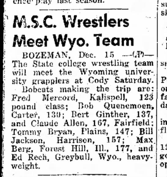 - M.S.C. Wrestlers Meet Wyo. Team BOZEMAN, Dec....