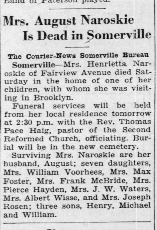Henrietta Mauritz - Mrs. August Naroskie Is Dead in Somerville The...