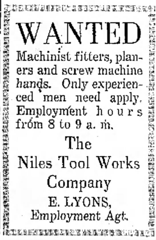 - WANTED Machinist fitters, plan- ers and screw...