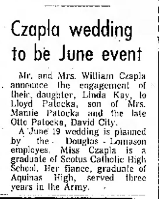 Lloyd & Linda Patocka - . for will Czapla wedding to be June event Mr....