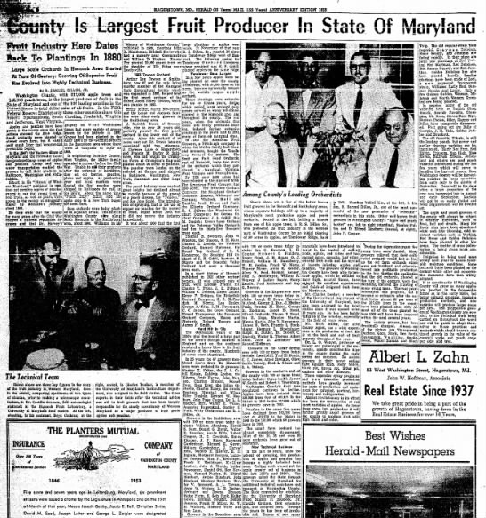 Hancock's wealthy Orchard growers - HAGERSTOWN, MX. HERALD (80 Y*on) MAO. (125...