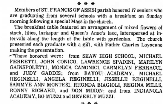 Angela Reginelli and Jisselle Reginelli High School Graduation Announcement June 1972 - a and * * # Members of ST. FRANCIS OF ASSISI...