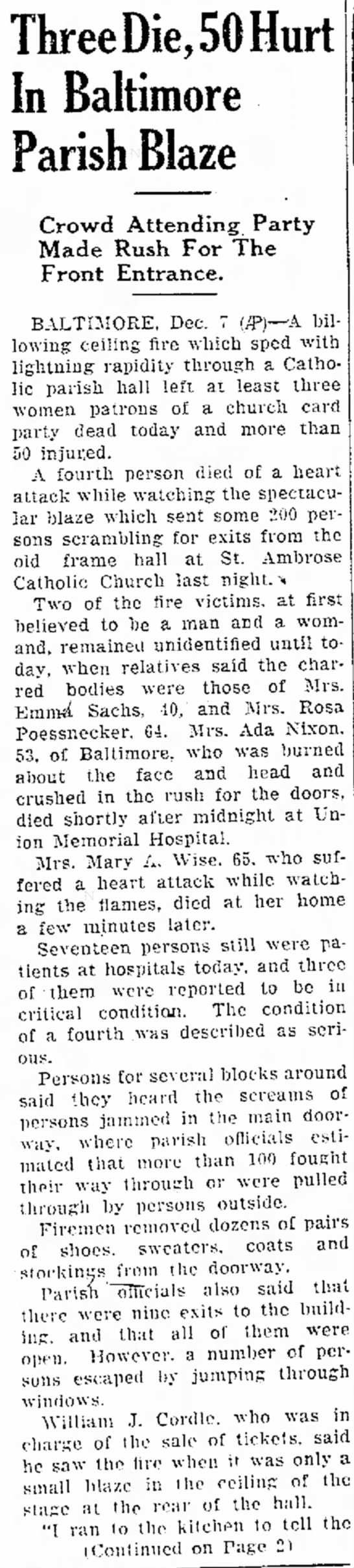 St Ambrose Fire - Dec 7, 1944 - Hagerstown Daily Mail - ThreeDie,50Hurt In Baltimore Parish Blaze Crowd...