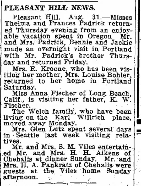 mrs glenn lutz the chehalis bee-nugget,  (chehalis, washington 2 Sept. 1932 p. 10 - of the these been PLEASAXT HILL. NEWS. Pleasant...