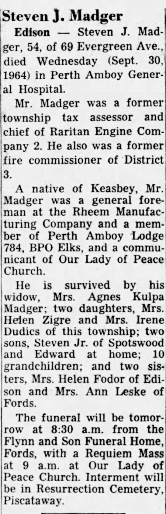 Steven Madger obituary - Steven J. Madger Edison Steven J. Madger, 54,...