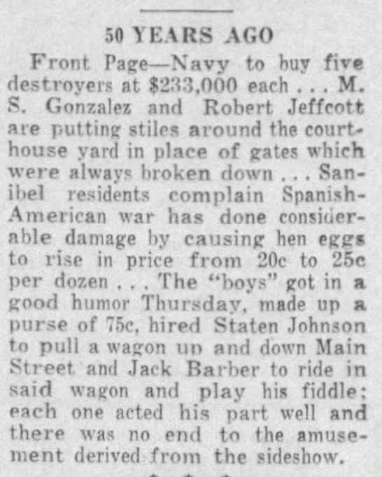 Looking back to Sep 1898 - 50 YEARS AGO Front Page Navy to buy five...