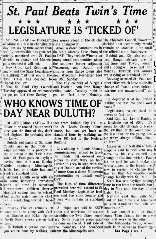 Twin cities disagree over daylight savings time, 1965 - daylight saving time sooner than how- iPRaiiy...