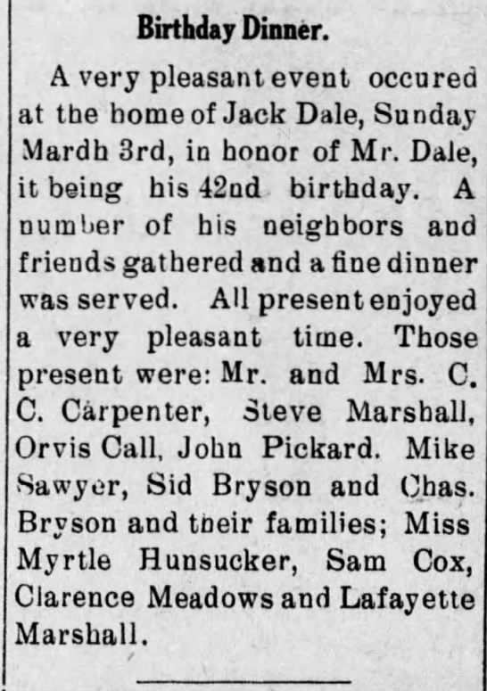 Lafayette Marshall possibly - Birthday Dinner. A very pleasant event occured...