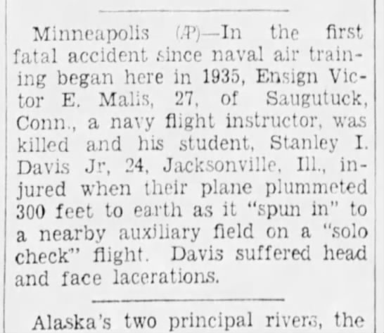 victor crash - Minneapolis f.T) In the first fatal accident...