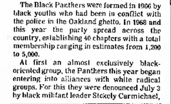 bp - The Black Panthers were formed in black youths...