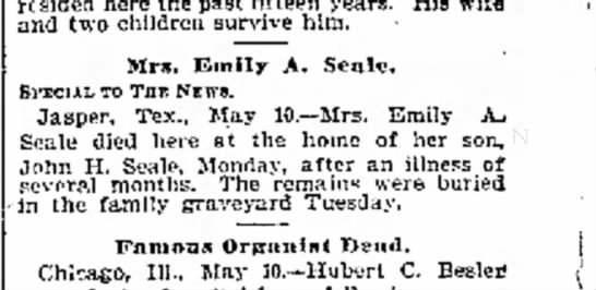 Emmily A Blount  SEale Obit Galveston Daily News 5-11-05 - resided here the past fifteen years. His wife...